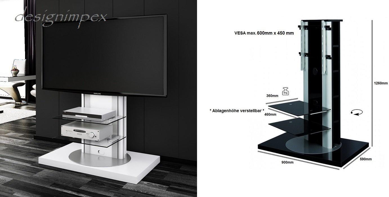 ... 777 Weiß Hochglanz drehbar TV Möbel TV Rack LCD inkl. TV-Halterung