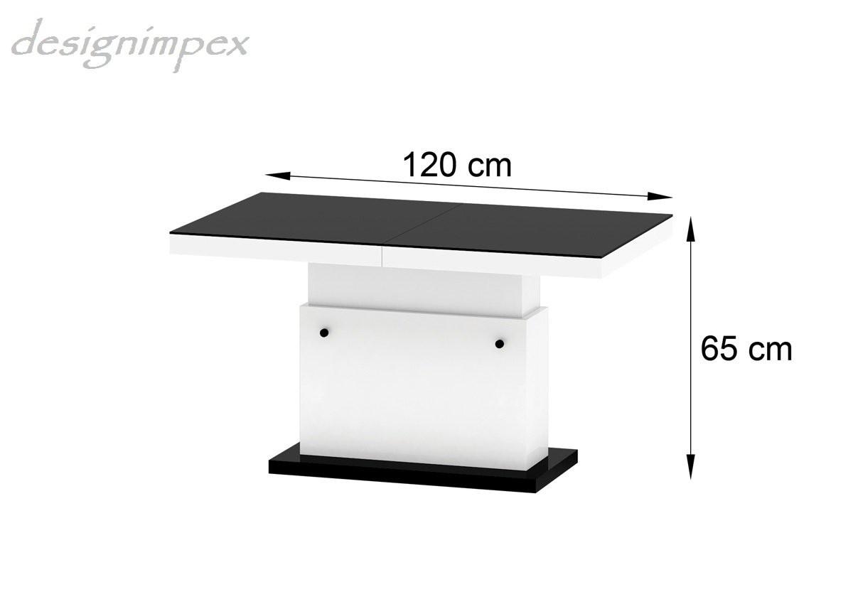 Design Couchtisch H333 Grau  Weiß Hochglanz höhenverstellbar