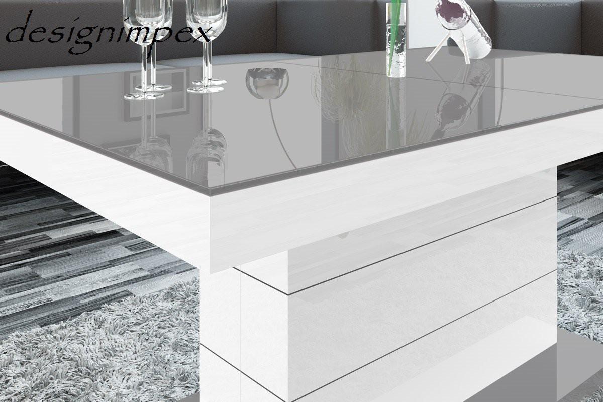 design couchtisch h 333 grau wei hochglanz h henverstellbar ausziehbar tisch hochglanzm bel. Black Bedroom Furniture Sets. Home Design Ideas