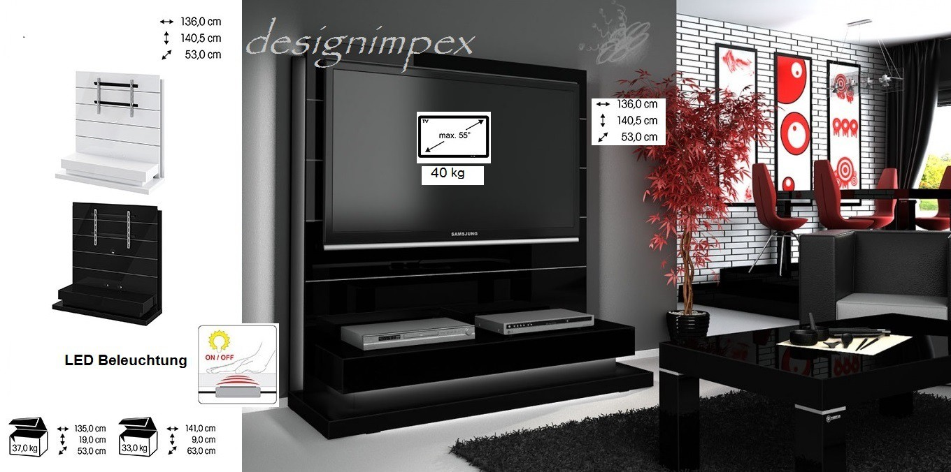 tv wand hn 222 schwarz hochglanz led beleuchtung tv rack inkl tv halterung hochglanzm bel tv m bel. Black Bedroom Furniture Sets. Home Design Ideas