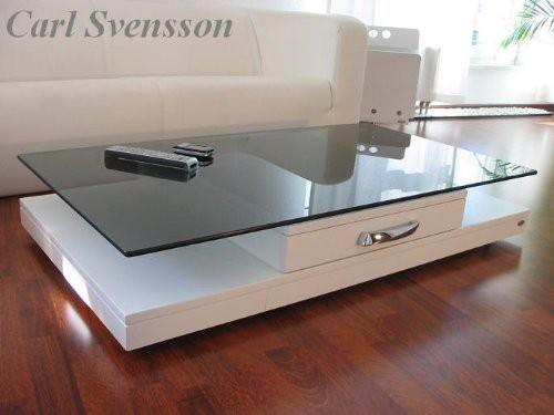 Design Esstisch Weiß Glas Carl Svensson ~ DESIGN COUCHTISCH weiß V470 getöntes Glas Carl Svensson NEU