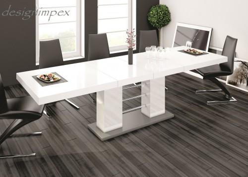 design esstisch he 111 wei grau hochglanz ausziehbar. Black Bedroom Furniture Sets. Home Design Ideas