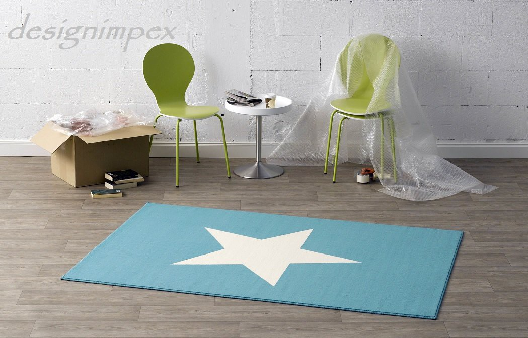 Trend Teppich Stern Blau Türkis Creme 140 x 200 cm CM10