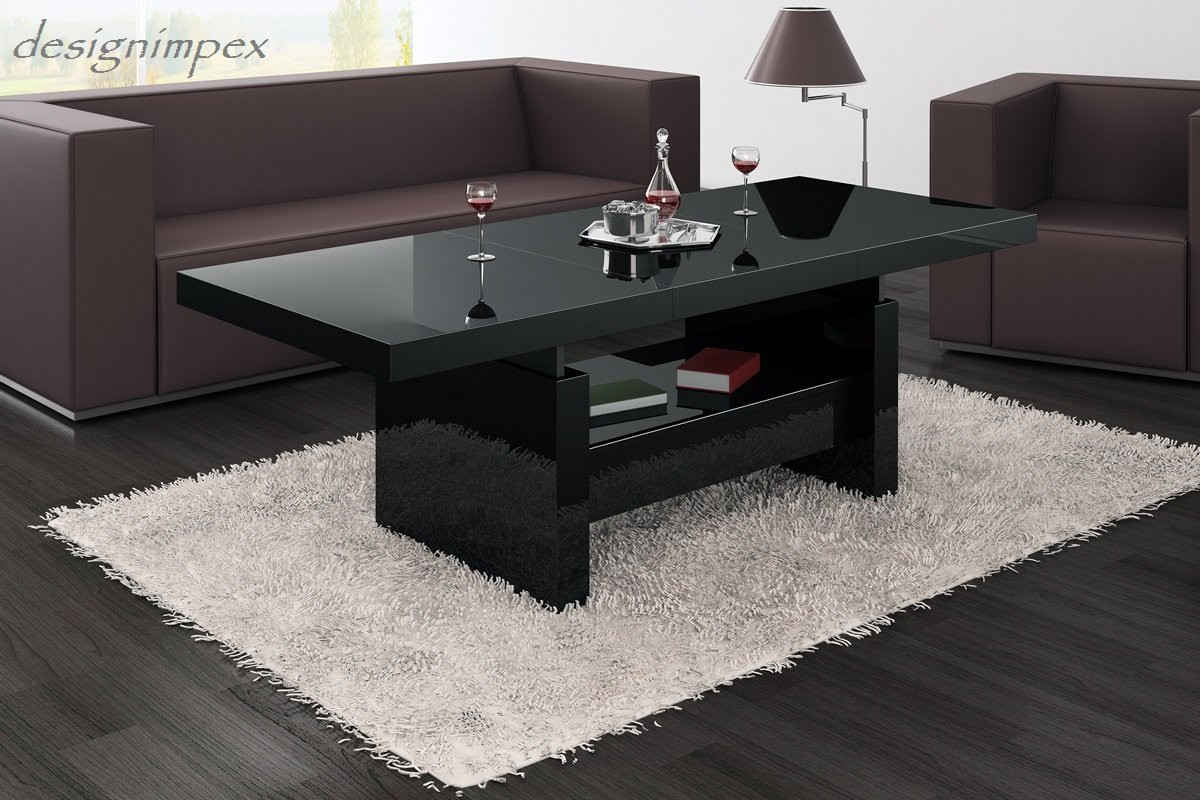 design couchtisch h 111 schwarz hochglanz schublade h henverstellbar ausziehbar tisch couchtische. Black Bedroom Furniture Sets. Home Design Ideas