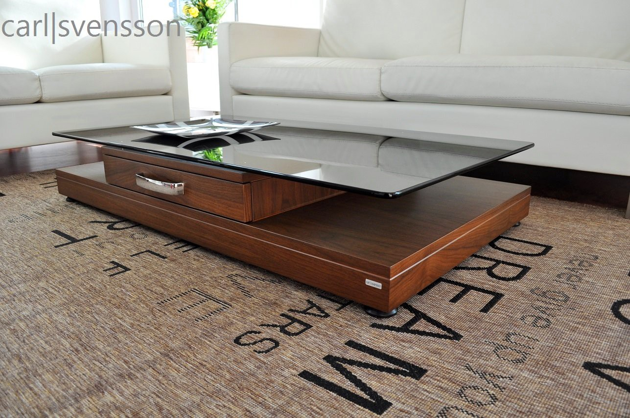 design couchtisch v 470 walnuss nussbaum get ntes glas carl svensson couchtische nussbaum. Black Bedroom Furniture Sets. Home Design Ideas