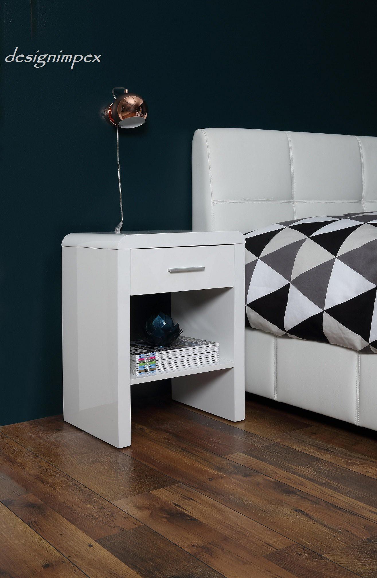 design nachttisch boxspringbett nachtkommode sn 1 wei. Black Bedroom Furniture Sets. Home Design Ideas