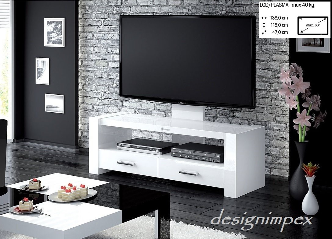 fernsehtisch h 555 wei hochglanz tv schrank tv m bel tv rack lcd inkl tv halterung. Black Bedroom Furniture Sets. Home Design Ideas
