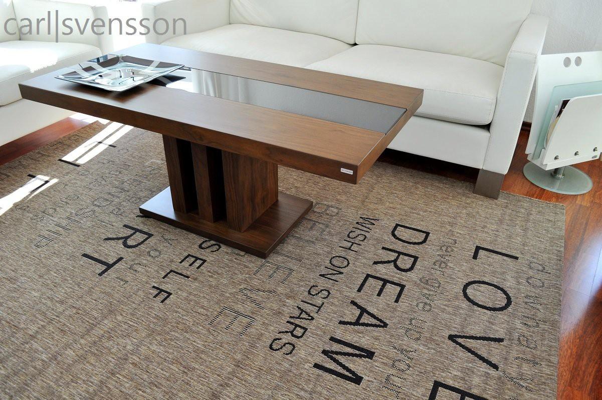 Design couchtisch s 444 walnuss nussbaum get ntes glas for Design couchtisch s 360
