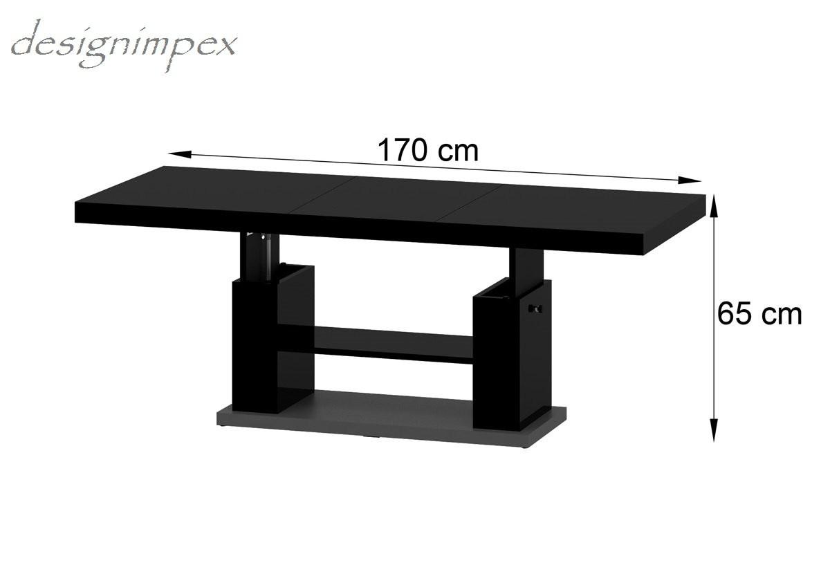 Design couchtisch hn 777 schwarz grau hochglanz for Tisch design ausziehbar