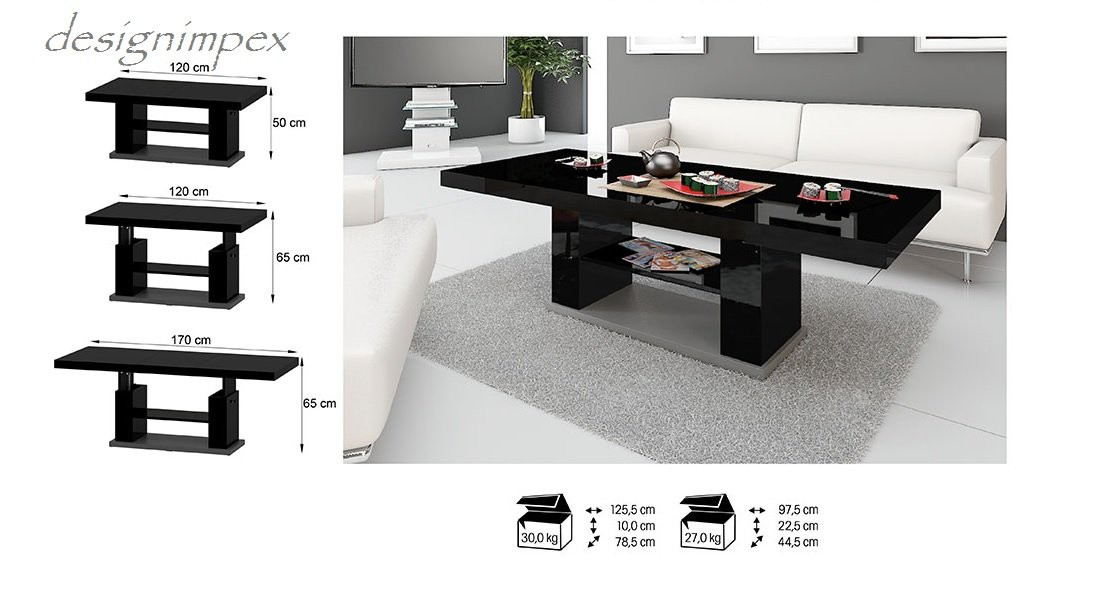 Design Couchtisch HN777 Schwarz  Grau Hochglanz