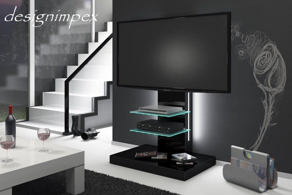 fernsehtisch h 444 schwarz hochglanz tv schrank tv m bel tv rack inkl tv halterung. Black Bedroom Furniture Sets. Home Design Ideas