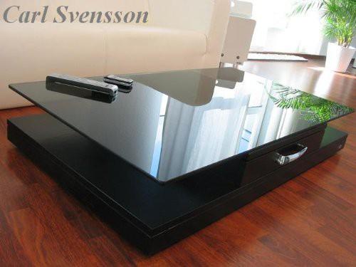 DESIGN COUCHTISCH Tisch V-470 schwarz getöntes Glas Carl Svensson ...