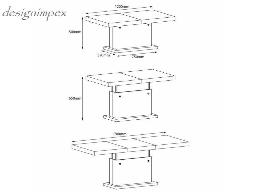 design couchtisch h 333 wei hochglanz h henverstellbar ausziehbar. Black Bedroom Furniture Sets. Home Design Ideas