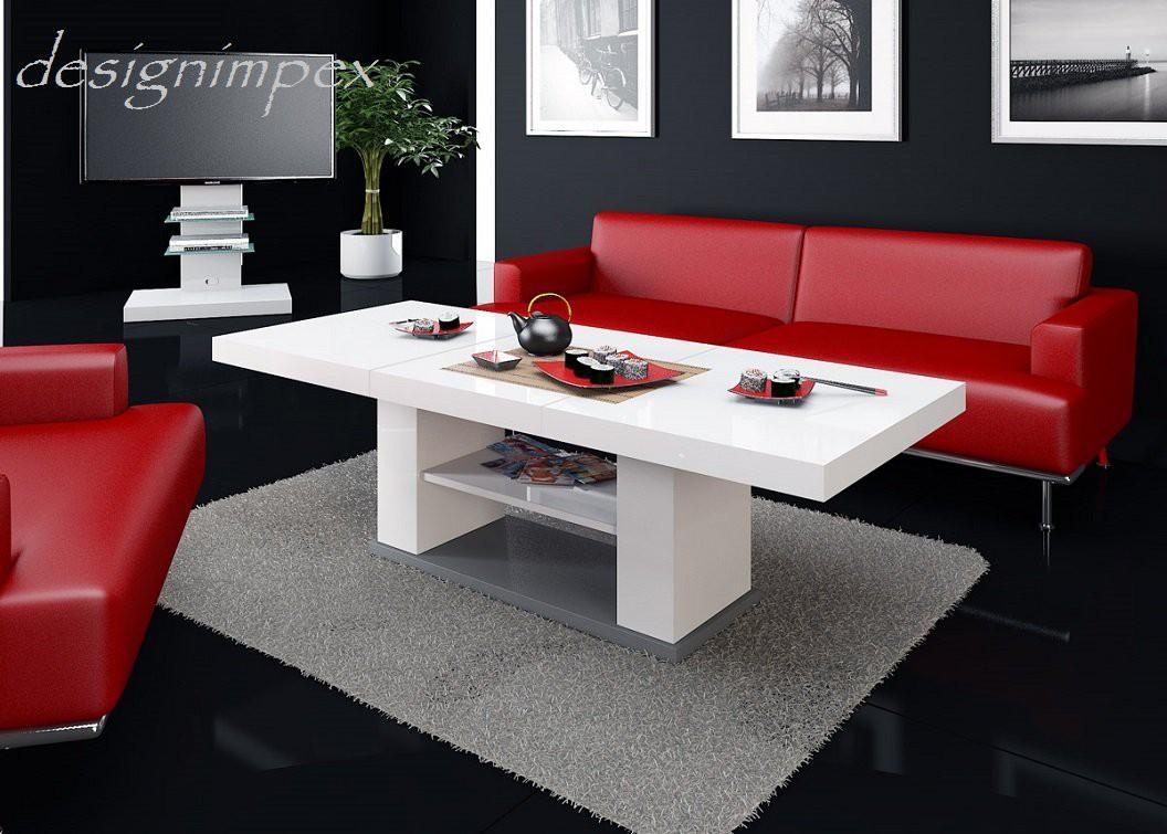 Design Couchtisch HN777 Weiß  Grau Hochglanz
