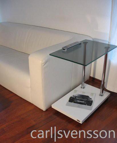 Design Beistelltisch Weiß V-270 getöntes Glas Beistelltische