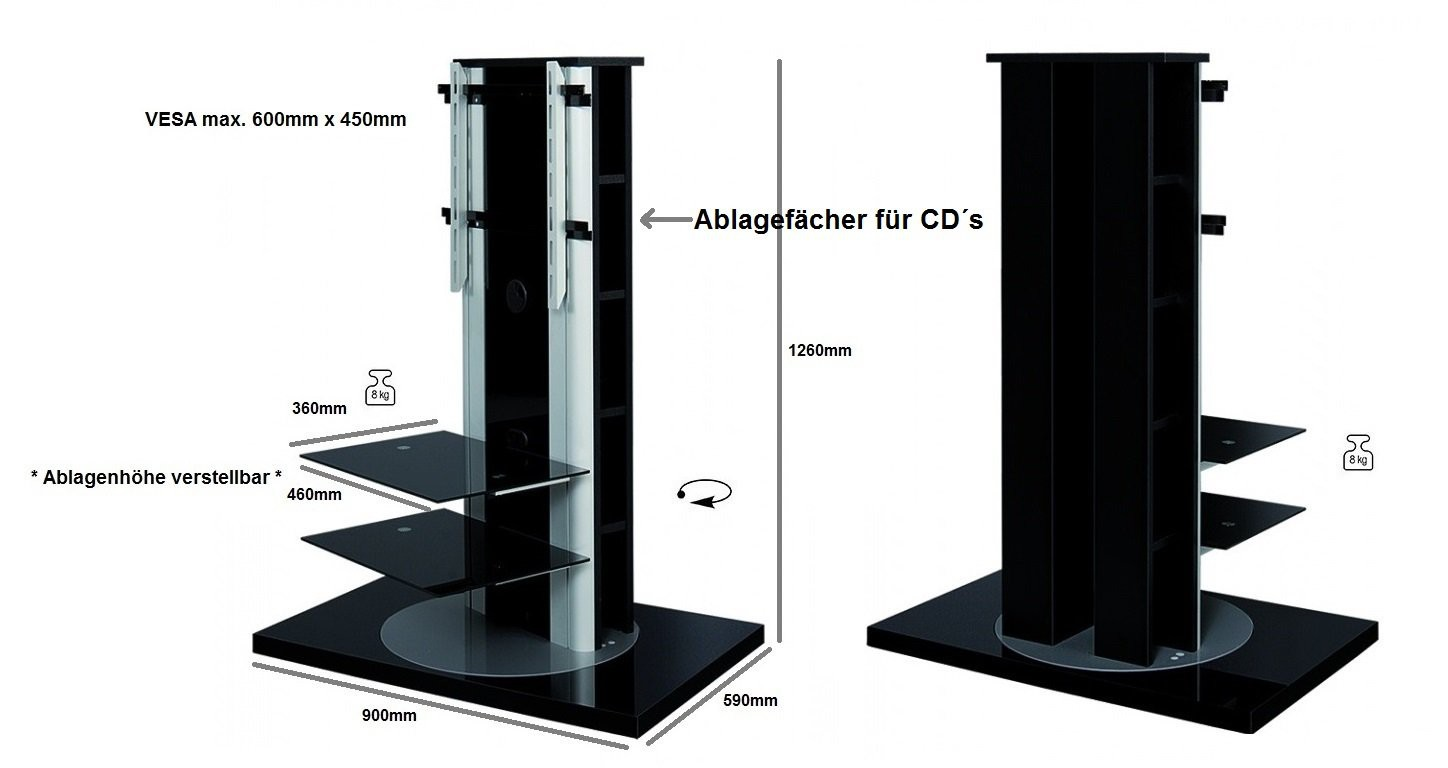 fernsehtisch h 777 schwarz hochglanz 360 drehbar tv m bel. Black Bedroom Furniture Sets. Home Design Ideas