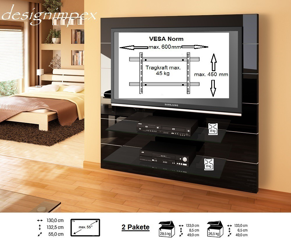 tv wand hn 111 schwarz hochglanz tv rack lcd inkl tv halterung hochglanzm bel tv m bel. Black Bedroom Furniture Sets. Home Design Ideas