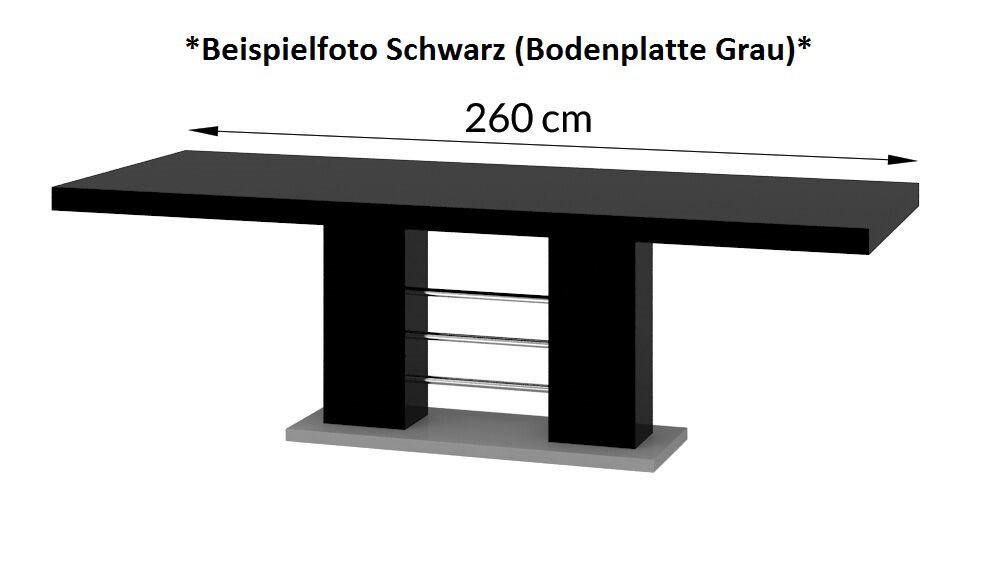 design esstisch he 111 wei grau hochglanz ausziehbar 160 260 cm hochglanzm bel esstische. Black Bedroom Furniture Sets. Home Design Ideas
