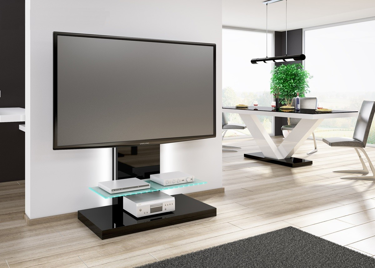 tv tisch hn 444 schwarz hochglanz tv schrank fernsehrack mit tv halterung hochglanzm bel tv m bel. Black Bedroom Furniture Sets. Home Design Ideas