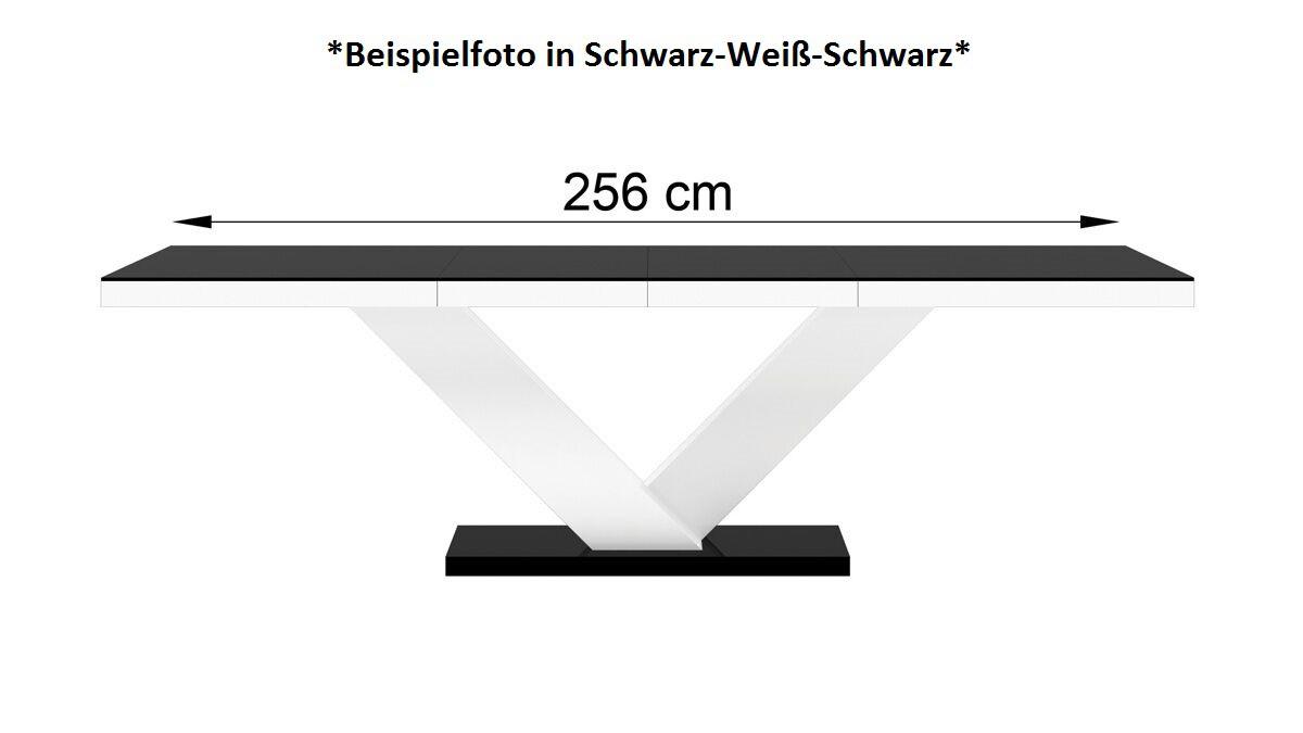 Design esstisch he 999 grau wei hochglanz ausziehbar for Esstisch grau weiss