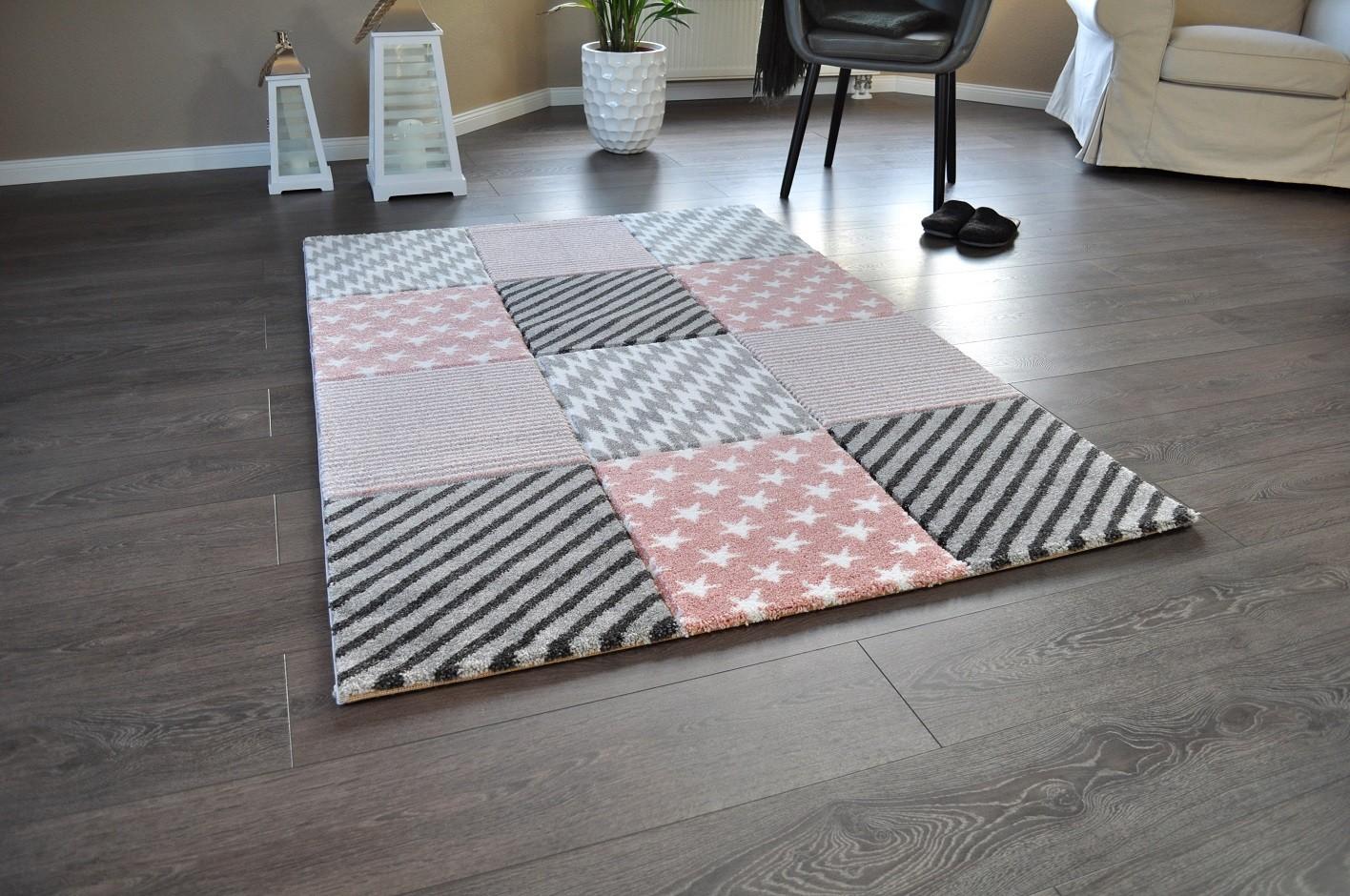 hochwertiger design teppich relief tf 19 rosa grau wei sterne 120 x 170 teppiche design trend. Black Bedroom Furniture Sets. Home Design Ideas