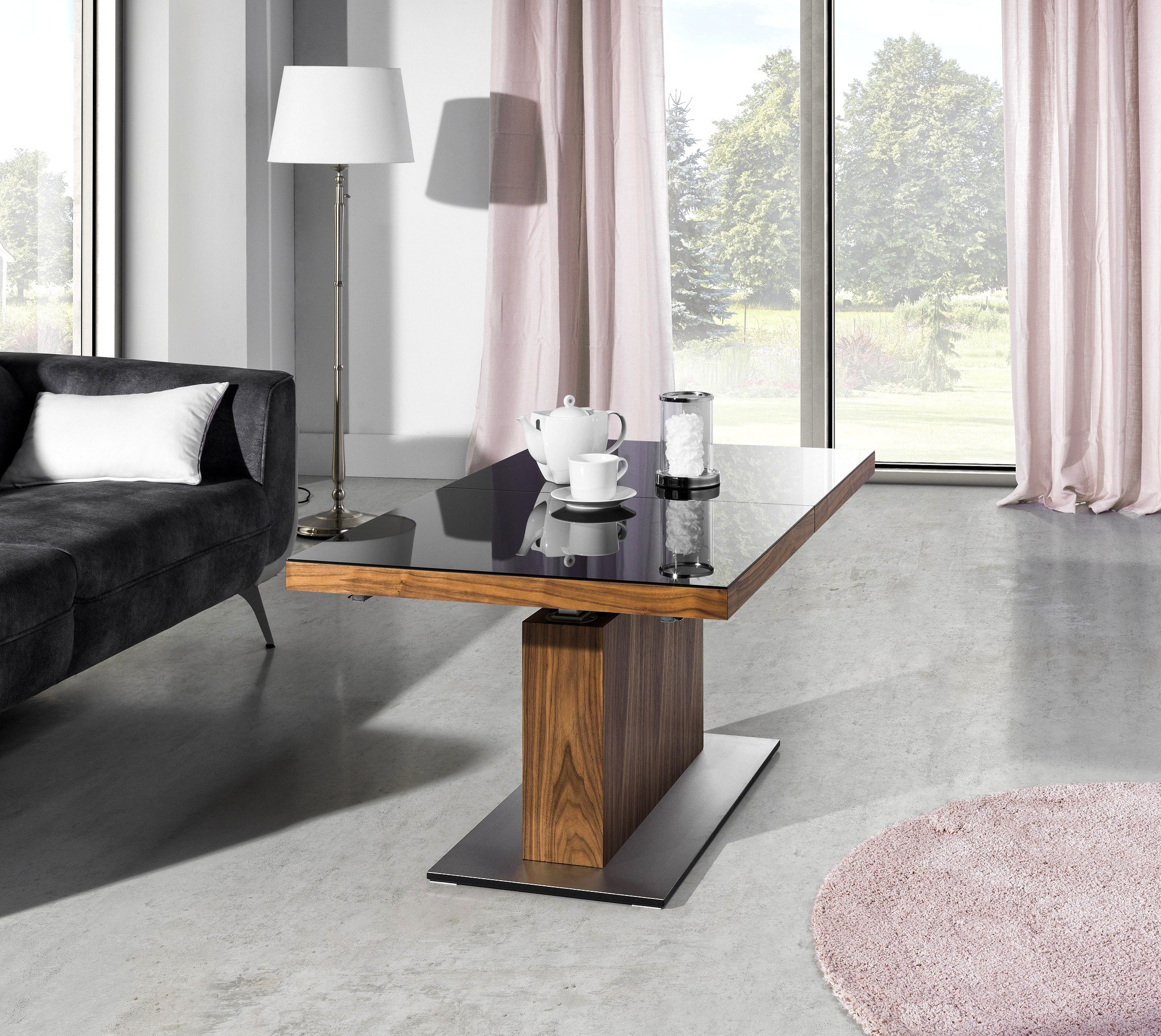 couchtisch mn 3 walnuss nussbaum schwarzglas h henverstellbar ausziehbar couchtische nussbaum. Black Bedroom Furniture Sets. Home Design Ideas