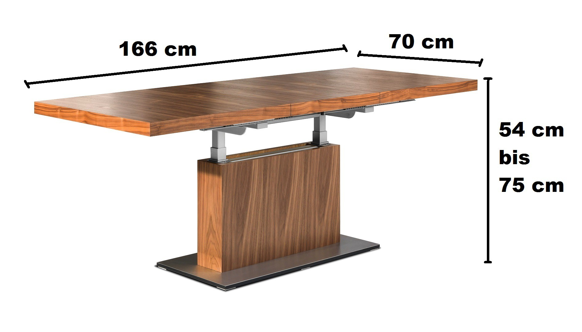 Design couchtisch tisch mn 7 walnuss nussbaum for Tisch design ausziehbar