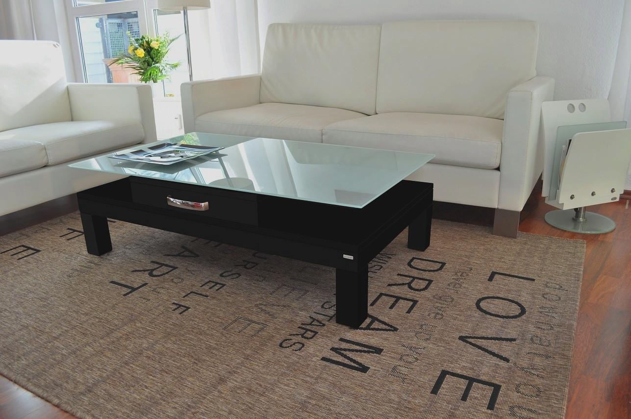 Design Couchtisch Tisch V470H Schwarz Milchglas Carl