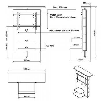 tv wand h 999 schwarz hochglanz drehbar tv rack tv. Black Bedroom Furniture Sets. Home Design Ideas