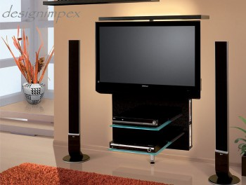 tv wand h 999 schwarz hochglanz drehbar tv rack tv halterung led beleuchtung lcd ebay. Black Bedroom Furniture Sets. Home Design Ideas