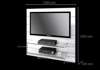 tv wand hn 111 wei hochglanz tv rack lcd inkl appen. Black Bedroom Furniture Sets. Home Design Ideas