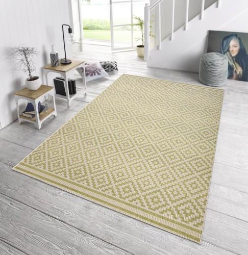 in outdoor design teppich terrasse 160 x 230 cm raute gr n creme od 3. Black Bedroom Furniture Sets. Home Design Ideas