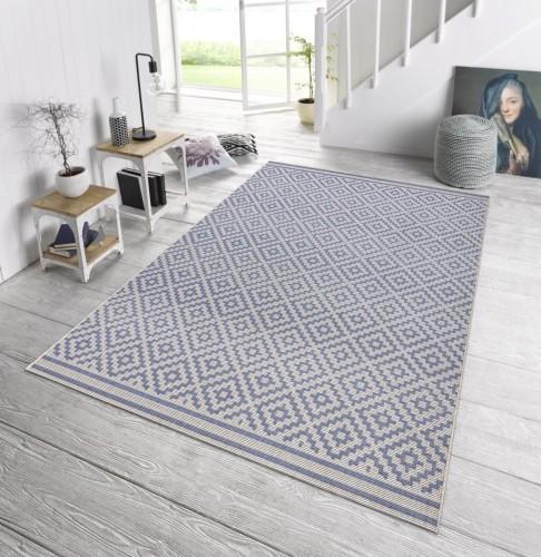 in outdoor teppich terrasse 160 x 230 raute blau creme. Black Bedroom Furniture Sets. Home Design Ideas