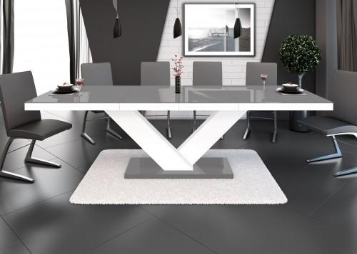 Design esstisch he 999 grau wei hochglanz ausziehbar for Design esstisch he 111